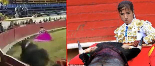 O femeie toreador din Mexic a fost schilodită în timpul unei lupte de un taur furios