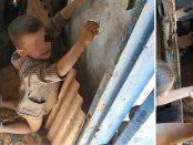 Copil abuzat fizic și legat cu lanțul de tată
