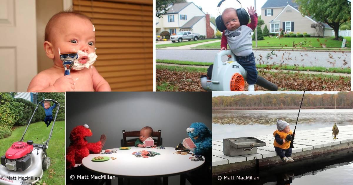 Bîiețel adorabil a cărui poze au fost modificate de tată în Photoshop
