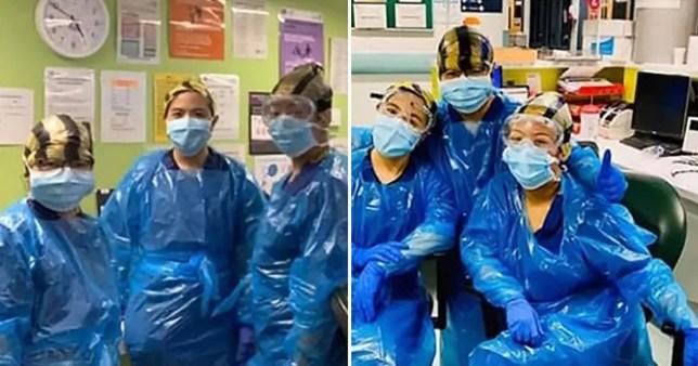 Trei asistente s-au fotografiat echipate cu saci de gunoi clinici