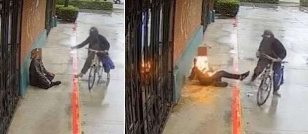 Un biciclist a stropit cu benzină un bărbat fără adăpost și i-a dat foc