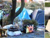 """""""Imigranții"""" români au instalat corturile in Londra lângă un hotel de 5 stele"""