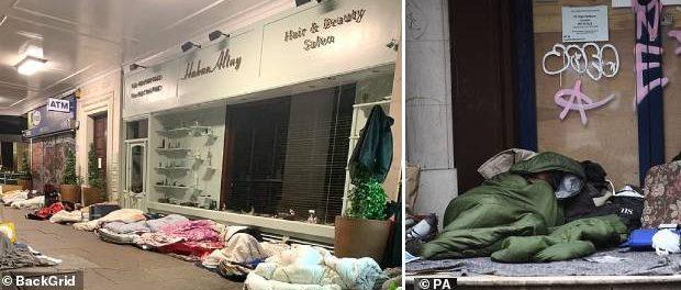 """""""Românii"""" fără adăpost dorm pe saltele improvizate și cutii de carton"""