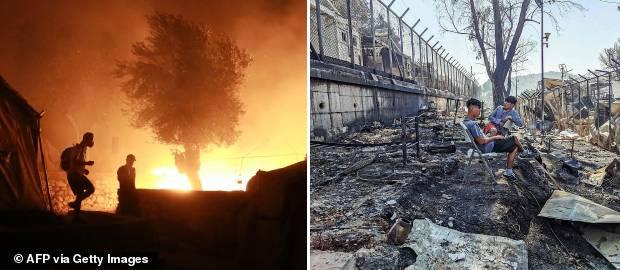 Imigranții au dat foc taberei de refugiați de pe insula Lesbos
